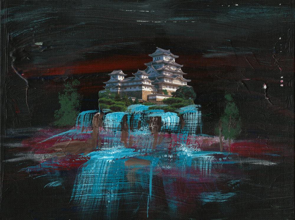 Pagoda - mixed media art